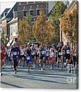 Just After The Gun At A Running Race On A Town Street Canvas Print
