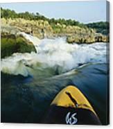 Kayak Noses Its Way Toward A Waterfall Canvas Print