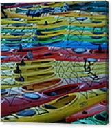 Kayak Row Canvas Print