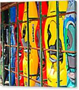 Kayaks In A Cage Canvas Print