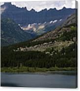 Kayaks On Swiftcurrent Lake Canvas Print
