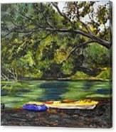 Kayaks On The Little Sandy Canvas Print