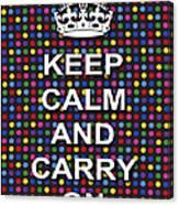 Keep Calm And Carry On Poster Print Blue Green Red Polka Dot Background Canvas Print