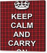 Keep Calm And Carry On Poster Print Red Black Stripes Background Canvas Print