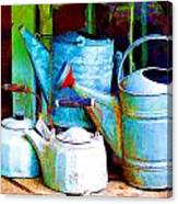 Kettles And Cans To Water The Garden Canvas Print