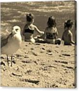 Kids On The Beach - Sepia Canvas Print