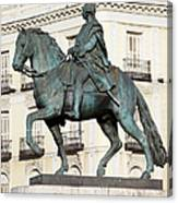 King Charles IIi Statue In Madrid Canvas Print