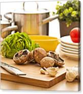 Kitchen Still Life Preparation For Cooking Canvas Print