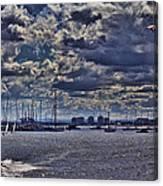 Kite Surfing At St Kilda Beach Canvas Print
