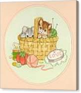 Kittens In Basket Canvas Print