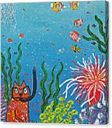 Kittyboy Goes Snorkeling Canvas Print