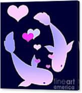 Koi In Love Canvas Print