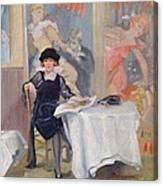 Lady At A Cafe Table  Canvas Print