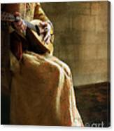 Lady In 16th Century Clothing With A Mandolin Canvas Print