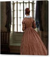 Lady In 19th Century Clothing Looking Out Window Canvas Print