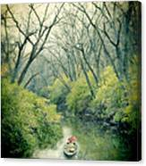Lady In A Row Boat On A River Canvas Print