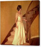 Lady In Lace Gown On Staircase Canvas Print