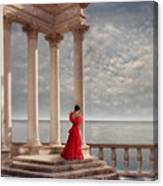 Lady In Red Gown By The Sea Canvas Print