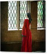 Lady In Tudor Gown Looking Out A Window Canvas Print