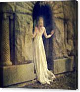 Lady In White Gown In Doorway Canvas Print