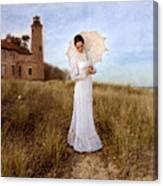 Lady In White With Parasol By The Sea Canvas Print