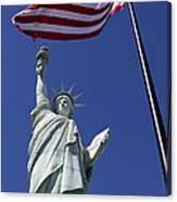 Lady Liberty And Us Flag Canvas Print