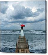 Lady On Dock In Storm Canvas Print