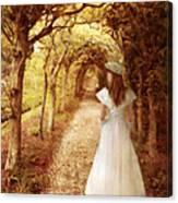 Lady Walking In Tree Tunnel In Garden Canvas Print