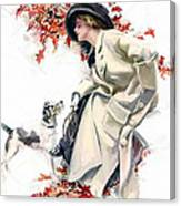 Lady With Dog Canvas Print