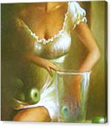 Lady With Green Apples Canvas Print