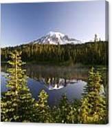 Lake And Mount Rainier, Mount Rainier Canvas Print