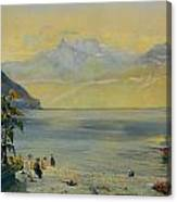 Lake Leman With The Dents Du Midi In The Distance Canvas Print