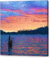 Lake Quinault Sunset - Impressionism Canvas Print