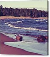 Lake Superior Beach Waves  Canvas Print