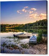 Lake View Row Boat Canvas Print