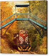 Lake Winnipesaukee New Hampshire Railroad Train In Autumn Foliage Canvas Print