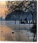 Lake With Ice In Sunset Canvas Print