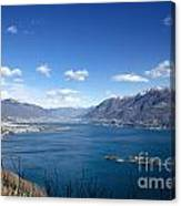 Lake With Islands And Snow-capped Mountain Canvas Print