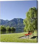 Lakefront With Mountain Canvas Print