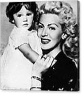 Lana Turner Right, And Daughter Cheryl Canvas Print