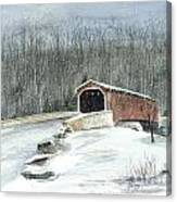Lancaster County Covered Bridge In The Snow  Canvas Print