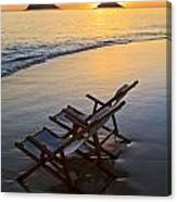 Lanikai Chairs At Sunrise Canvas Print