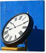 Large Clock On Yellow Chair Canvas Print