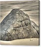 Large Rock On The Beach Canvas Print