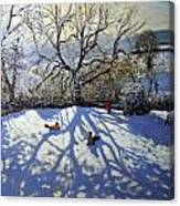 Large Tree And Tobogganers Canvas Print