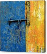 Latch The Door On The Faded Blue And Yellow Wall Canvas Print