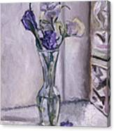 Lavender Flowers In A Glass Vase With Glass Block Window Canvas Print