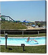 Lazy River Panorama At A Water Park Canvas Print