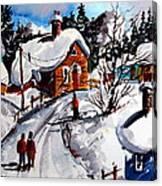 Le Village Gran Mere l'heiver Canvas Print