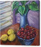 Leaves Cherries And Lemons Canvas Print